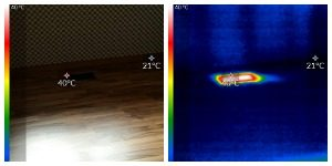 side by side shot of thermal image of heat coming from floor at 49C