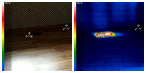 Side by side infrared and Photo taken during Heating inspection