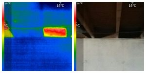 Side by side of thermal and photo