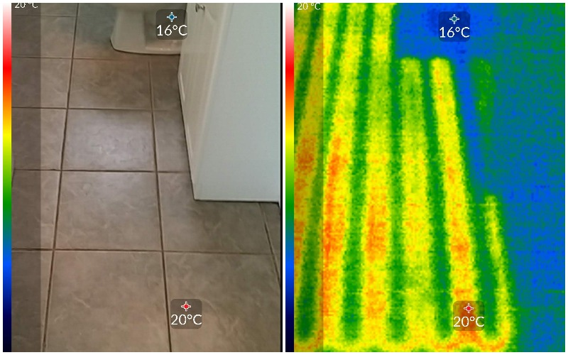 Side by side Thermal image of in floor Heating