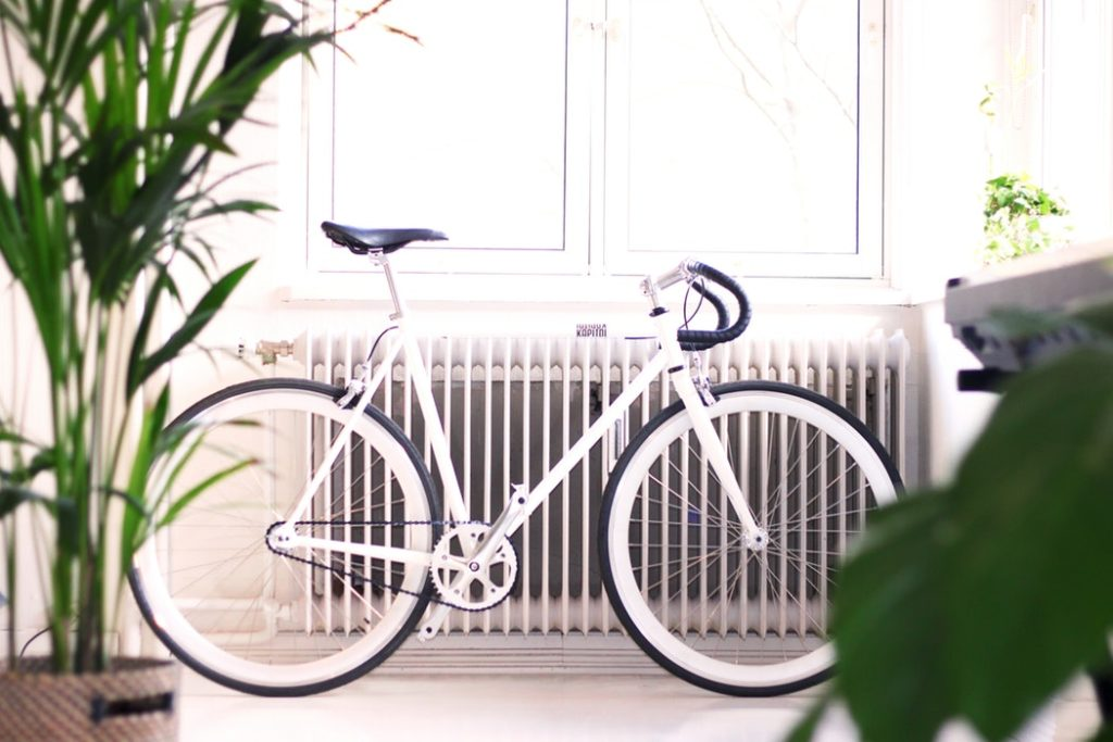 radiator heating with a bike