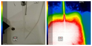 side by side photo and thermal image of hot water running