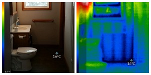 Side by side photo and thermal image bathroom
