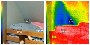 Side by side photo and thermal image