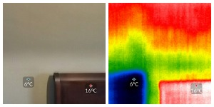 side by side photo and thermal images showing missing insulation