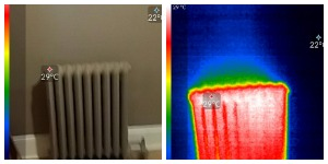 side by side of photo and thermal of working Rad