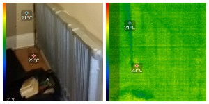 side by side photo and thermal image of non working Rad