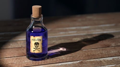 bottle with poison label