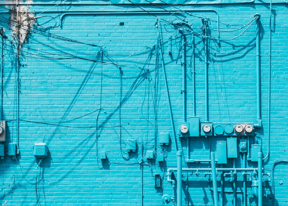 Blue Wall with electrical wires