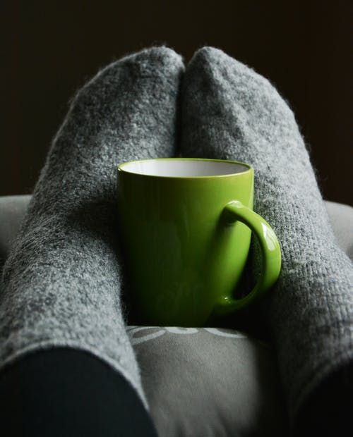 Warm feet and a cup
